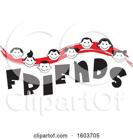 Clipart of a Red Wave with Faces of Children over the Word Friends - Royalty Free Vector Illustration by Johnny Sajem