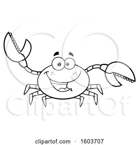 Clipart of a Lineart Happy Crab Mascot Character - Royalty Free Vector Illustration by Hit Toon
