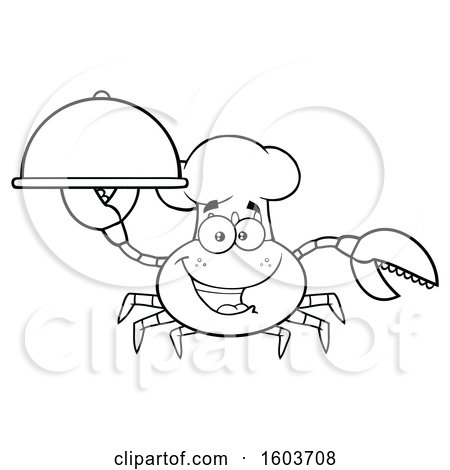 Clipart of a Lineart Happy Crab Chef Mascot Character Holding a Platter - Royalty Free Vector Illustration by Hit Toon