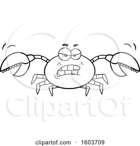 Clipart of a Lineart Mad Crab Mascot Character - Royalty Free Vector Illustration by Hit Toon