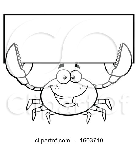 Clipart of a Lineart Happy Crab Mascot Character Holding up a Blank Sign - Royalty Free Vector Illustration by Hit Toon