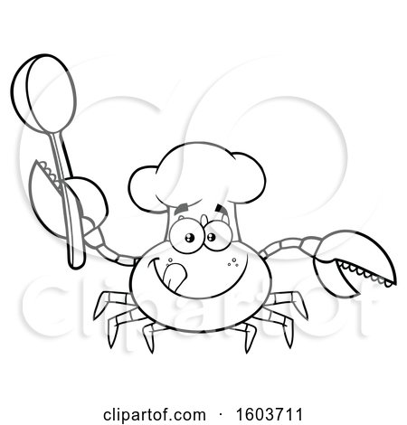 Clipart of a Lineart Happy Crab Chef Mascot Character Holding a Spoon - Royalty Free Vector Illustration by Hit Toon