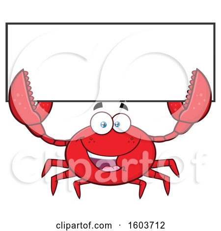 Clipart of a Happy Crab Mascot Character Holding up a Blank Sign - Royalty Free Vector Illustration by Hit Toon