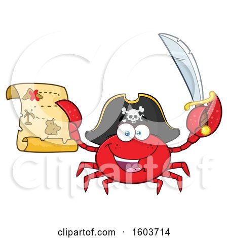Clipart of a Happy Pirate Captain Crab Mascot Character Holding a Sword and Treasure Map - Royalty Free Vector Illustration by Hit Toon