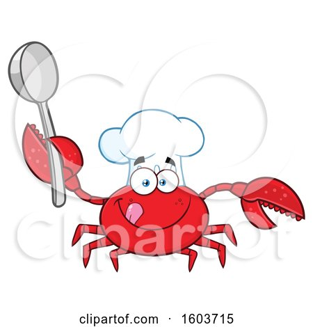 Clipart of a Happy Crab Chef Mascot Character Holding a Spoon - Royalty Free Vector Illustration by Hit Toon
