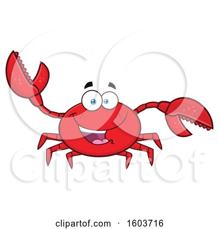 Clipart of a Happy Crab Mascot Character - Royalty Free Vector Illustration by Hit Toon