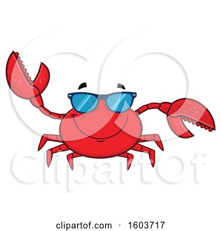 Clipart of a Happy Crab Mascot Character Wearing Sunglasses - Royalty Free Vector Illustration by Hit Toon