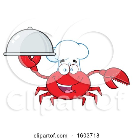 Clipart of a Happy Crab Chef Mascot Character Holding a Platter - Royalty Free Vector Illustration by Hit Toon