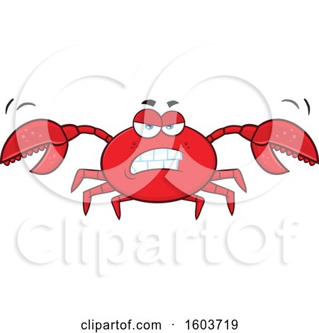 Clipart of a Mad Crab Mascot Character - Royalty Free Vector Illustration by Hit Toon