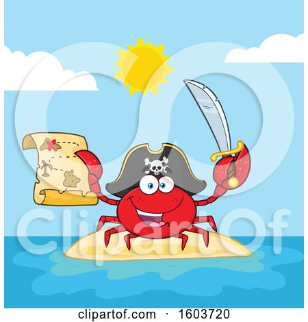 Clipart of a Happy Pirate Captain Crab Mascot Character Holding a Sword and Treasure Map on an Island - Royalty Free Vector Illustration by Hit Toon