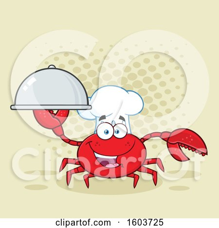 Clipart of a Happy Crab Chef Mascot Character Holding a Platter over Halftone - Royalty Free Vector Illustration by Hit Toon