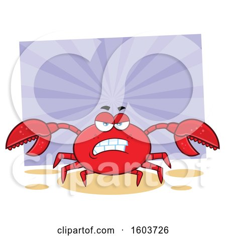 Clipart of a Mad Crab Mascot Character over Purple Rays - Royalty Free Vector Illustration by Hit Toon