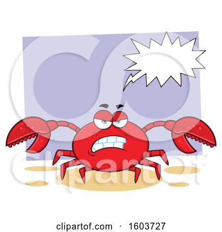 Clipart of a Mad Crab Mascot Character Talking over Purple - Royalty Free Vector Illustration by Hit Toon
