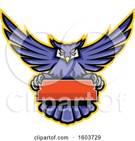 Clipart of a Purple Great Horned Owl Mascot Flying with a Blank Banner - Royalty Free Vector Illustration by patrimonio