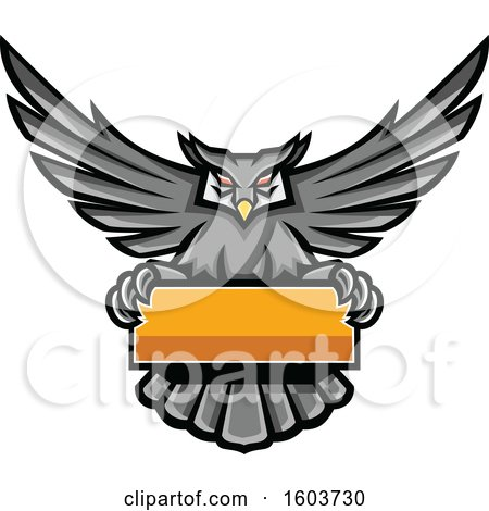Clipart of a Gray Great Horned Owl Mascot Flying with a Blank Banner - Royalty Free Vector Illustration by patrimonio