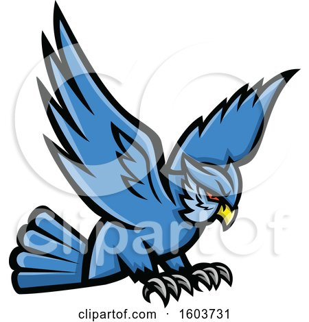 Clipart of a Swooping Blue Great Horned Owl Mascot - Royalty Free Vector Illustration by patrimonio