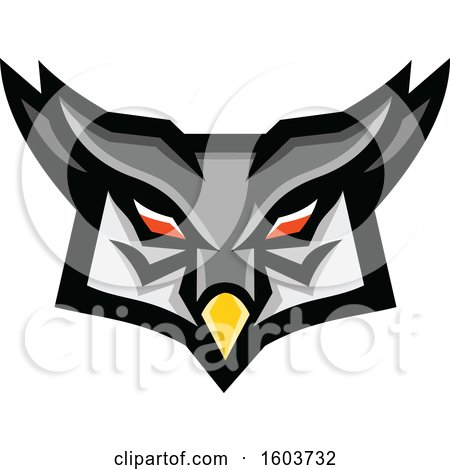 Clipart of a Tough Great Horned Owl Head - Royalty Free Vector Illustration by patrimonio