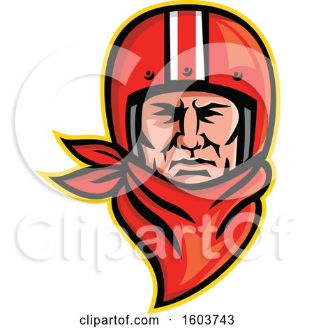 Clipart of a Male Biker Wearing a Vintage Helmet and Red Bandana - Royalty Free Vector Illustration by patrimonio