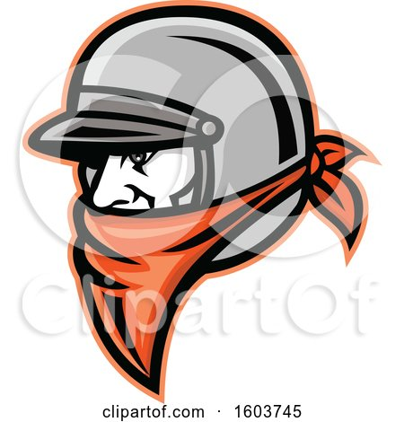 Clipart of a Male Outlaw Biker Wearing a Helmet and Orange Bandana - Royalty Free Vector Illustration by patrimonio