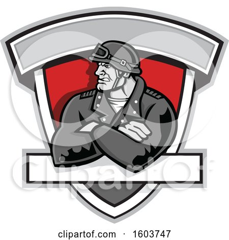 Clipart of a Tough Retro Male Biker with Folded Arms and Riding Gear in a Shield - Royalty Free Vector Illustration by patrimonio
