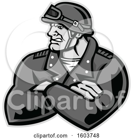 Clipart of a Tough Retro Male Biker with Folded Arms and Riding Gear - Royalty Free Vector Illustration by patrimonio