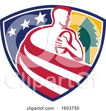 Clipart of a Retro Male Rugby Player Formed of Stripes in a Star Shield with a Tree - Royalty Free Vector Illustration by patrimonio
