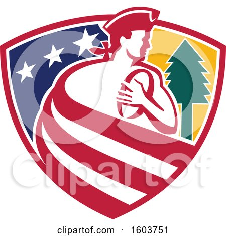 Clipart of a Patriot Rugby Player Made of Stripes in a Star and Tree Shield - Royalty Free Vector Illustration by patrimonio