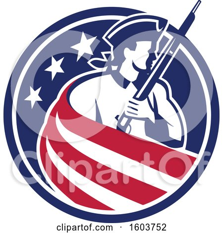 Clipart of a Revolutionary Soldier Holding a Musket, Draped in Stripes in an American Star Circle - Royalty Free Vector Illustration by patrimonio