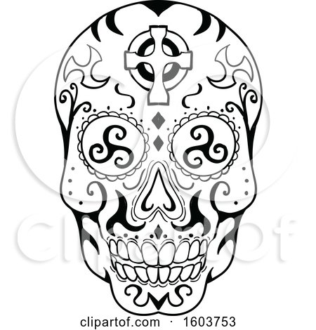 Clipart of a Exican Skull or Calavera with with Triskelion Eyes and a Celtic Cross on the Forehead - Royalty Free Vector Illustration by patrimonio