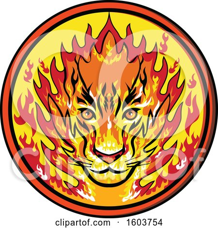 Clipart of a Flaming Tiger Mascot Head in a Circle - Royalty Free Vector Illustration by patrimonio