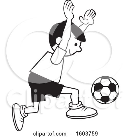 Clipart of a Boy Playing Soccer - Royalty Free Vector Illustration by Johnny Sajem