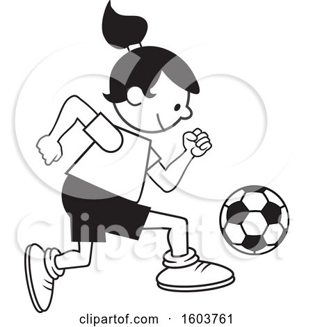 Clipart of a Girl Playing Soccer - Royalty Free Vector Illustration by Johnny Sajem