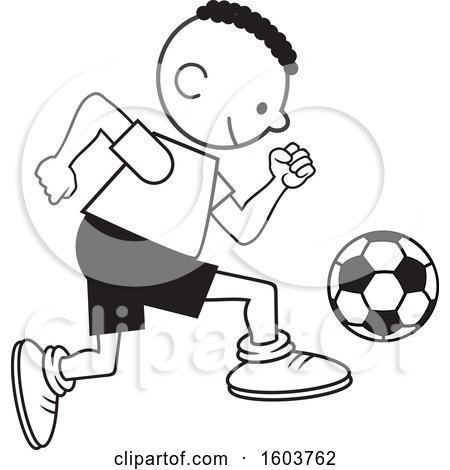 Clipart of a Black Boy Playing Soccer - Royalty Free Vector Illustration by Johnny Sajem