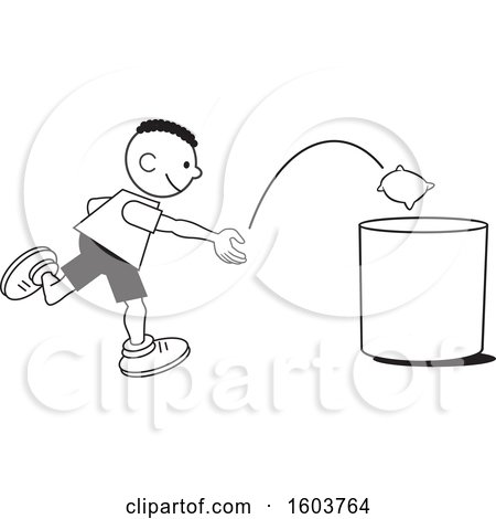 Clipart of a Black Boy Playing a Bean Bag Toss Game - Royalty Free Vector Illustration by Johnny Sajem
