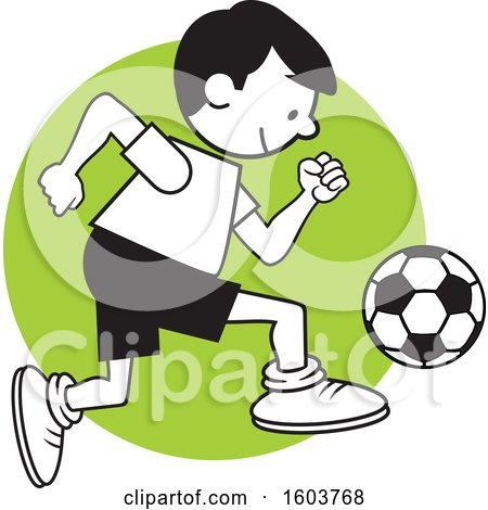 Clipart of a Boy Playing Soccer over a Green Circle - Royalty Free Vector Illustration by Johnny Sajem