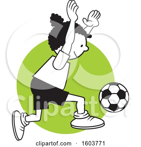 Clipart of a Black Girl Playing Soccer over a Green Circle - Royalty Free Vector Illustration by Johnny Sajem