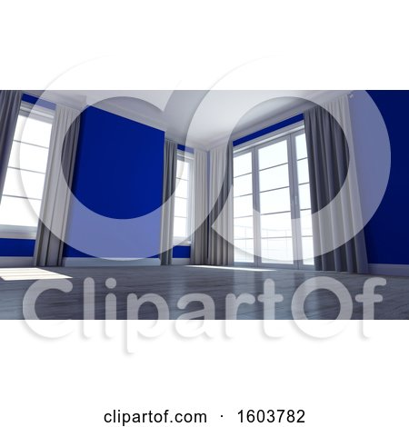 Clipart of a 3d Empty Room Interior - Royalty Free Illustration by KJ Pargeter