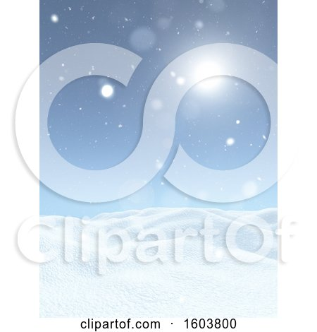 Clipart of a Sunny Sky over a 3d Winter Background - Royalty Free Illustration by KJ Pargeter
