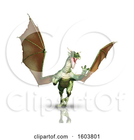 Clipart of a 3d Dragon, on a White Background - Royalty Free Illustration by KJ Pargeter