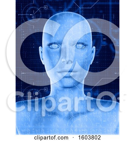 Clipart of a 3D Render of a Female Face with Technology Coding Overlay - Royalty Free Illustration by KJ Pargeter