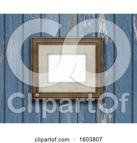 Clipart of a 3D Render of a Vintage Blank Picture Frame on an Old Wooden Wall - Royalty Free Illustration by KJ Pargeter