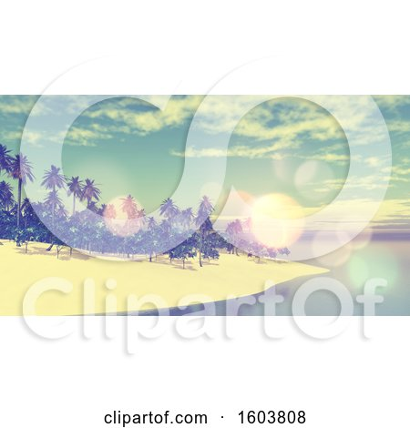 Clipart of a 3d Tropical Beach with Flares - Royalty Free Illustration by KJ Pargeter