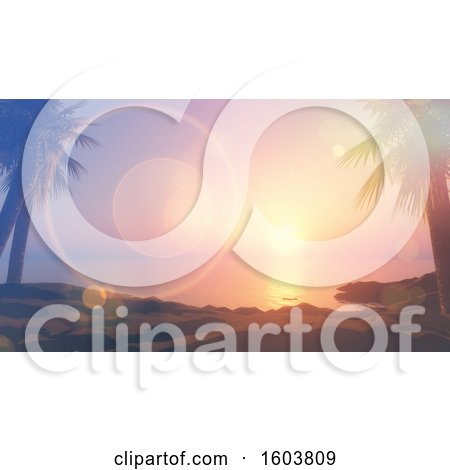 Clipart of a 3d Tropical Bay at Sunset, with Flares - Royalty Free Illustration by KJ Pargeter