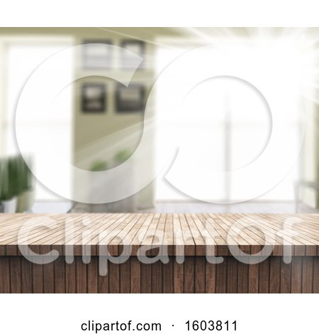 Clipart of a 3d Wood Counter and Blurred Room - Royalty Free Illustration by KJ Pargeter