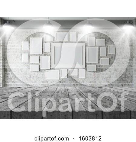 Clipart of a 3d Wood Counter with a View of a Gallery - Royalty Free Illustration by KJ Pargeter
