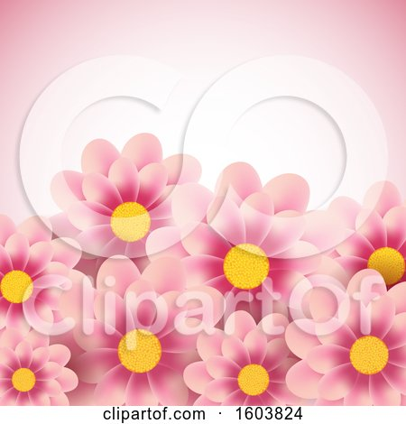 Clipart of a Pink Background with Daisy Flowers - Royalty Free Vector Illustration by KJ Pargeter