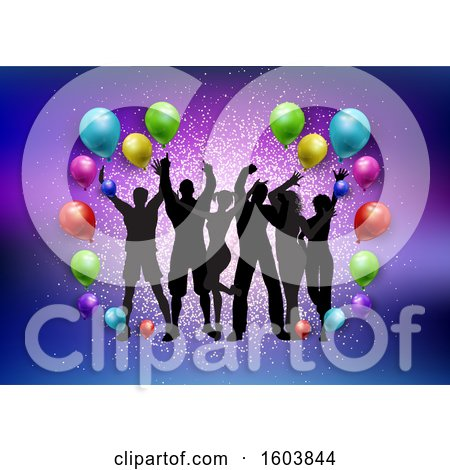 Clipart of a Silhouetted Groupof Dancers with Colorful Party Balloons and Glitter - Royalty Free Vector Illustration by KJ Pargeter