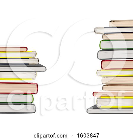 Clipart of a Background of 3d Stacked Books - Royalty Free Vector Illustration by dero