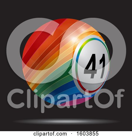 Clipart of a Rainbow Colored 3d Bingo Ball Floating on a Black Background - Royalty Free Vector Illustration by elaineitalia