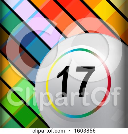 Clipart of a 3d White Bingo Ball with a Colorful Ring Around the Number over a Tiled Background - Royalty Free Vector Illustration by elaineitalia